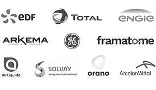 EDF - TOTAL - ENGIE - ARKEMA - GE - Framatome - Air Liquide - SOLVAY - ORANO - Acelor Mittal